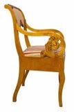 Античный стул стиля Biedermeier с подлинной тканью и деревянным высекать Стоковая Фотография