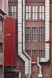 Античный фасад здания фабрики красного кирпича в Тампере Финляндия Стоковое фото RF
