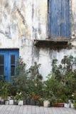 Античный фасад с заводами и цветками в Крите Греция Стоковое Изображение RF