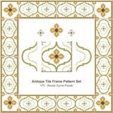 Античный цветок кривой картины set_175 рамки плитки круглый Стоковое Изображение