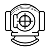 Античный шлем водолазов акваланга иллюстрация штока