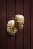 Античный knocker двери на деревянной двери в Венеции, Италии Стоковые Изображения