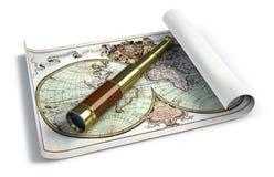 античный spyglass карты иллюстрация штока