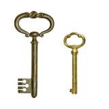 2 античных латунных ключа Стоковая Фотография