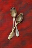 3 античных серебряных ложки Стоковое Изображение RF