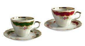 2 античных чашки и поддонника фарфора Стоковое Фото