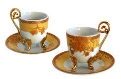 2 античных чашки и поддонника фарфора Стоковое Изображение RF