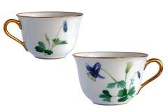 2 античных чашки фарфора Стоковая Фотография