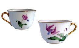 2 античных чашки фарфора Стоковые Фотографии RF