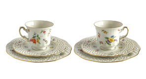 2 античных чашки фарфора Стоковые Изображения