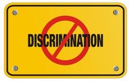 Анти- знак желтого цвета дискриминации - знак прямоугольника Стоковая Фотография RF