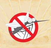 Анти- знак москита с смешным москитом шаржа Стоковое Фото
