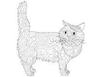 Анти- книжка-раскраска стресса Объект растра кота линии предпосылки черные белые Иллюстрация вектора