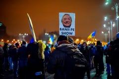 Анти- протестующие коррупции в Бухаресте, Румынии Стоковая Фотография
