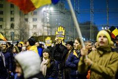 Анти- протест коррупции, Бухарест, Румыния Стоковые Фото