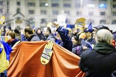 Анти- протест коррупции, Бухарест, Румыния Стоковое Фото
