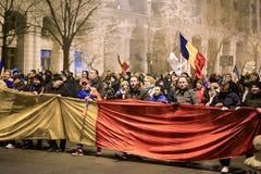 Анти- протест коррупции, Бухарест, Румыния Стоковая Фотография