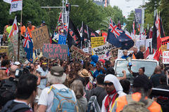 Анти--TPPA марш в Окленде, NZ Стоковые Изображения RF