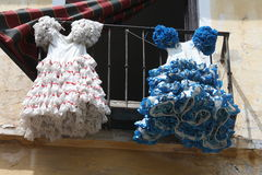 Андалузские платья фламенко Стоковая Фотография RF