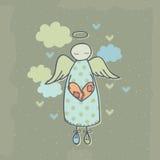 Анджел на облаке с сердцем Стоковые Изображения RF