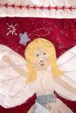 Анджел на чулке рождества Стоковые Изображения RF
