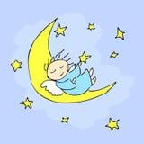 Анджел спать на луне Стоковые Изображения