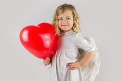 Анджел с красным сердцем Стоковая Фотография RF