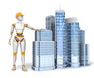 Андроид и офисные здания иллюстрация штока