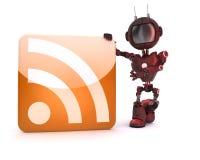 Андроид с символом RSS Стоковое Изображение