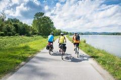 ландшафт группы велосипедистов голландский типичный Стоковые Изображения