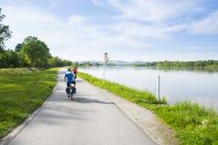 ландшафт группы велосипедистов голландский типичный Стоковая Фотография