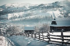 ландшафт зимы прикарпатский Стоковое Изображение RF