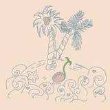 ландшафт тропический Рука тонет иллюстрация вектора бесплатная иллюстрация