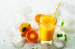 Апельсиновый сок с льдом и tangerines на белой предпосылке Открытый космос для вашего текста Copyspace Холодный напиток для горяч Стоковое Фото