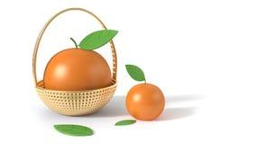 Апельсин в стиле мультфильма перевода предпосылки 3d корзины белом бесплатная иллюстрация