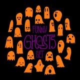 Апельсин круга призраков хеллоуина смешной Стоковое Изображение