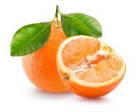 Апельсин при половина апельсина изолированная на белой предпосылке Стоковые Изображения RF