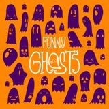 Апельсин смешных призраков хеллоуина квадратный Стоковые Изображения
