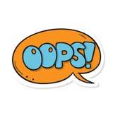 Апельсин текста слова Oops! Изображение вектора Стоковые Изображения