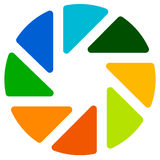 Апертура любит символ Круговой значок с ламеллами Стоковое фото RF