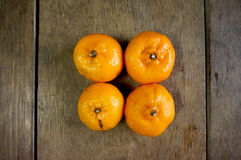 4 апельсина мандарина Стоковое фото RF