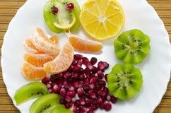 Апельсины, лимоны, кивиы и гранатовое дерево на плите Стоковое Изображение RF