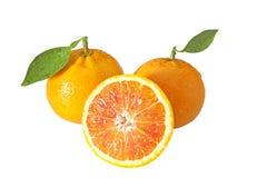 2 апельсины и половинного Стоковые Изображения