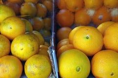 Апельсины на рынке плодоовощ Стоковая Фотография
