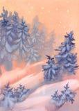 Апельсин акварели ландшафта зимы рождества Стоковые Фотографии RF