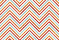 Апельсин акварели, голубой и красный цвет stripes предпосылка, шеврон Стоковые Изображения