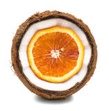 Апельсин внутри кокоса изолированного на белизне Стоковая Фотография