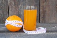 Апельсин, концепция диеты плодоовощ на деревянном поле Стоковые Фотографии RF