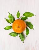 Апельсин приносить с зелеными листьями на белой деревянной предпосылке Стоковые Изображения