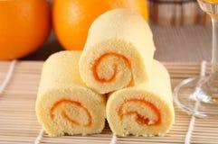 Апельсин торта крена Стоковые Изображения